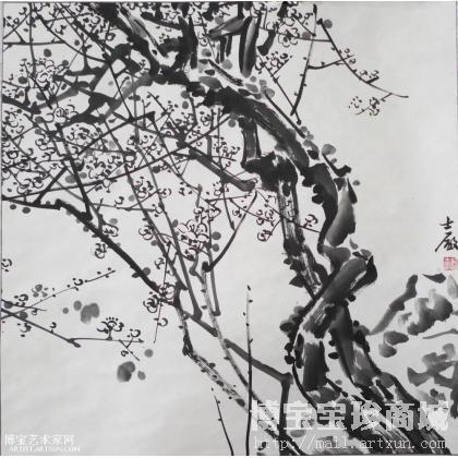 郭士厂梅花 写意花鸟画作品 类别: 写意花鸟画-张大千白梅国画